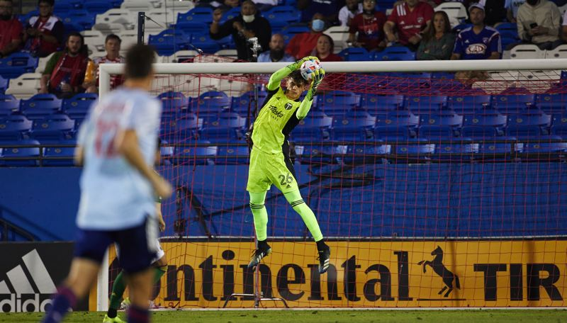 COURTESY PHOTO: PORTLAND TIMBERS/CRAIG MITCHELLDYER - Timbers goalkeeper Hunter Sulte makes a save in his MLS debut on Saturday in a 4-1 loss at FC Dallas.