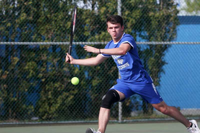 PMG PHOTO: PHIL HAWKINS - Woodburn senior Vlad Gridinar has had a strong season as the Bulldogs No. 2 doubles player and will look to parlay that into a state tournament berth af the district tournament at Black Butte Ranch next week.