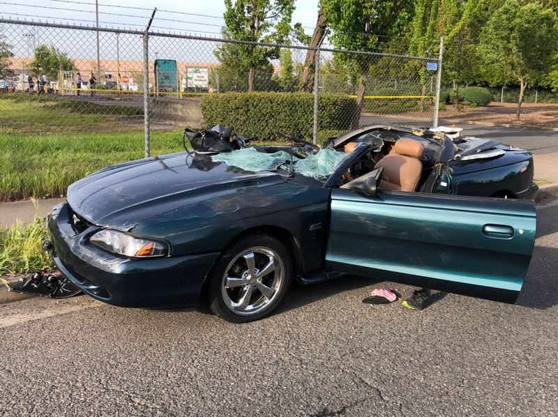 COURTESY PHOTO: PPB - The Ford Mustang involved in the fatal crash on April 29.