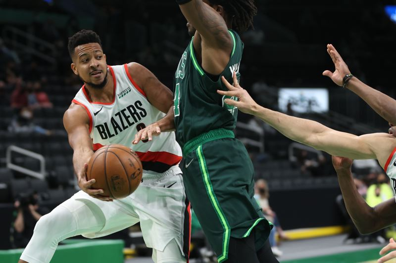 COURTESY PHOTO: BRUCE ELY/TRAIL BLAZERS - CJ McCollum led the Trail Blazers' balanced attack with 33 points in a 129-119 win at Boston on Sunday.