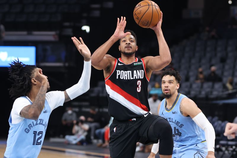 COURTESY PHOTO: BRUCE ELY/TRAIL BLAZERS - CJ McCollum and the Trail Blazers have racked up the points on Memphis and other teams during a hot road trip.