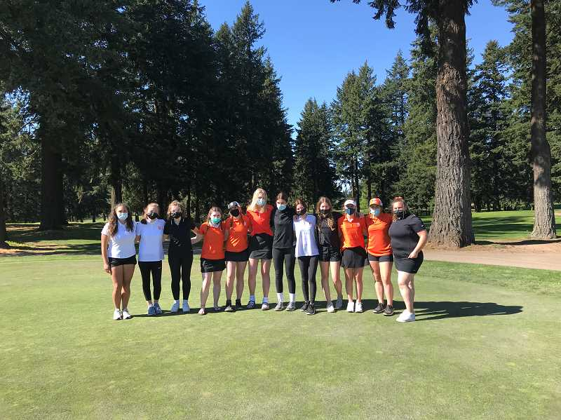 SUBMITTED PHOTO: JOE GIRRES - Members of the Scappoose High School girl's golf team enjoy a nice day on the golf links.
