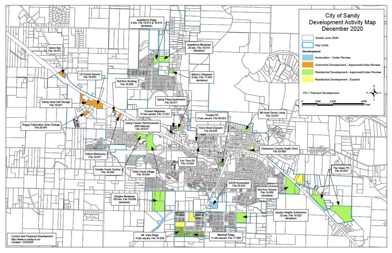 COURTESY PHOTO: CITY OF SANDY - According to this map of development activity in Sandy, as of December 2020, there were 15 residential developments approved or under review, including multiple multi-family buildings as well as subdivisions.