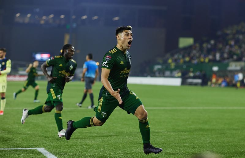 COURTSEY PHOTO: PORTLAND TIMBERS/CRAIG MITCHELLDYER - Felipe Mora reacts after converting his stoppage-time penalty kick on April 28, leveling the Timbers and Club A,erica at 1-1 entering Wednesday's second leg in Mexico City.