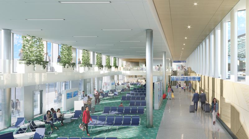 COURTESY RENDERING: PORT OF PORTLAND - A rendering of how the new Concourse B will look at Portland International Airport when it opens in November 2021. RYAN! Feddersen's wooden mural is at right.