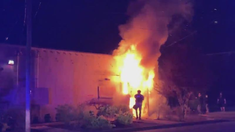 Teenager charged with Portland police union arson