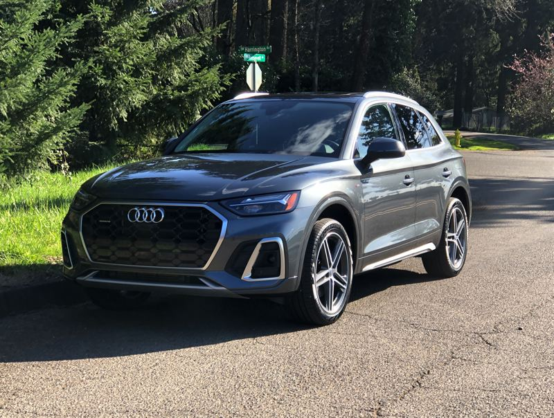 PMG PHOTO: JEFF ZURSCHMEIDE - The 2021 Audi Q5 55 TFSI e quattro is an attractive and powerful crossover that goes up to 19 miles on electricty alone.