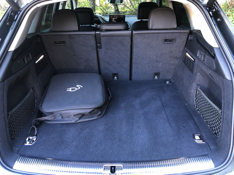 PMG PHOTO: JEFF ZURSCHMEIDE - The 2021 Audi Q5 55 TFSI e quattro offers 54 cubic feet of cargo capacity with the rear seats folded.