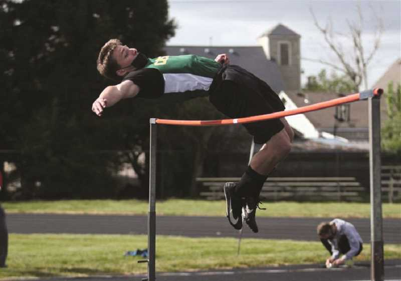 PMG PHOTO: PHIL HAWKINS - Colton's Ben Behrens had a good day in the meet against Kennedy and Gervais Thursday, May 6. He'll be a top contender for district honors during the Special District 2 championships May 15.