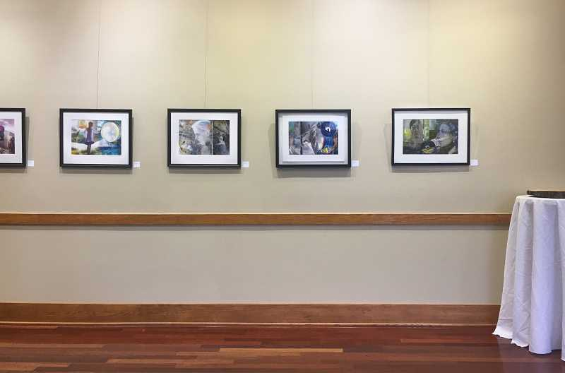 COURTESY PHOTO: TAMMY JO WILSON - Artwork in the Museum of the Oregon Territory's Tumwater event space features Friderike Heuer's series 'Tied to the Moon.'