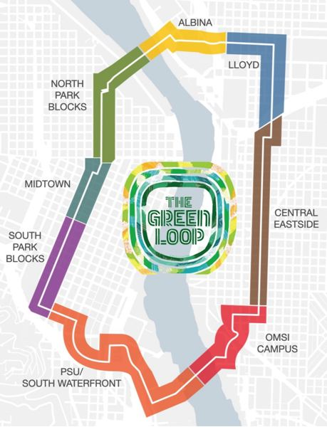 COURTESY GRAPHIC: PORTLAND BUREAU OF TRANSPORTATION - The Congressman Earl Blumenauer Bicycle and Pedestrian Bridge is a link in the proposed Green Loop.