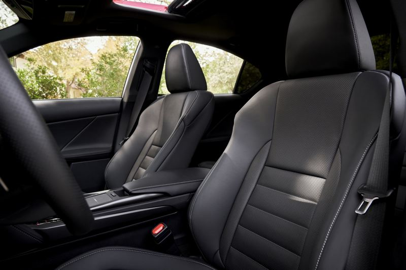 COURTESY LEXUS USA - The front bucket seats in the 2021 Lexus IS 350 AWD F Sport fit like a glove.