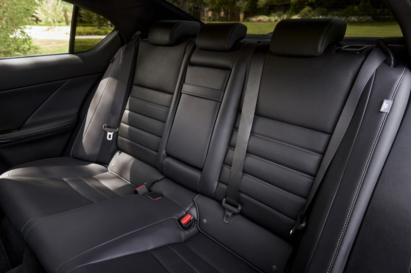 COURTESY LEXUS USA - Rear seat passengers ride in comfort and style in the 2021 Lexus IS 350 AWD F Sport.