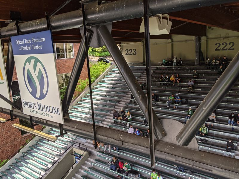 PAMPLIN MEDIA GROUP: JOSEPH GALLIVAN - The west stand is usually packed in sections 223 and 222 when Seattle Sounders fans come to town. May 9, 2021, they were not invited, but a few hundred were scattered around Providence Park to see their team beat the Portland Timbers 2-1.