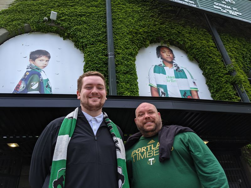 PAMPLIN MEDIA GROUP: JOSEPH GALLIVAN - Tyler Lewis (left) and Daniel Koberstein went to the Dallas game last week where fans were allowed in in Texas. Losing to Seattle hurt and the atmosphere was odd.