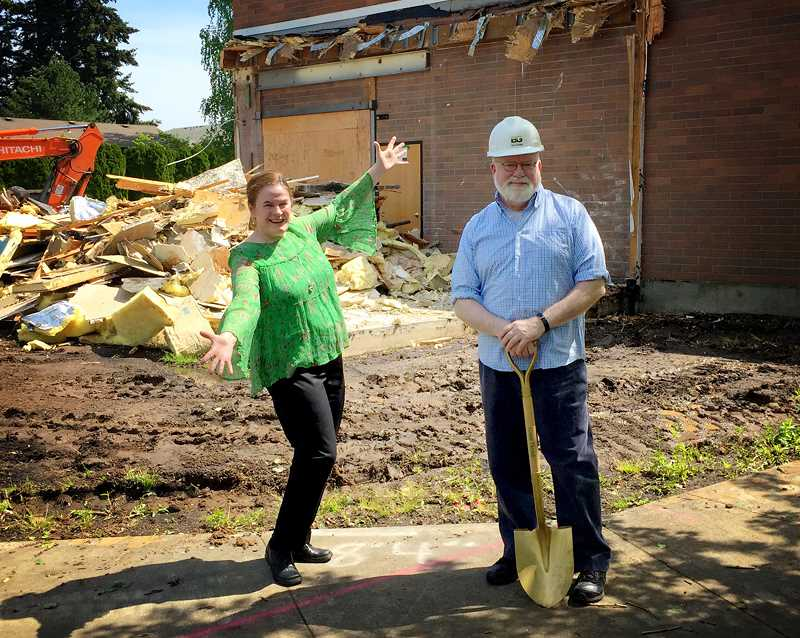 COURTESY PHOTO: BROADWAY ROSE - Dan and Sharon Murphy, owners of the Broadway Rose Theater Co., break ground on their new expansion project on May 5.