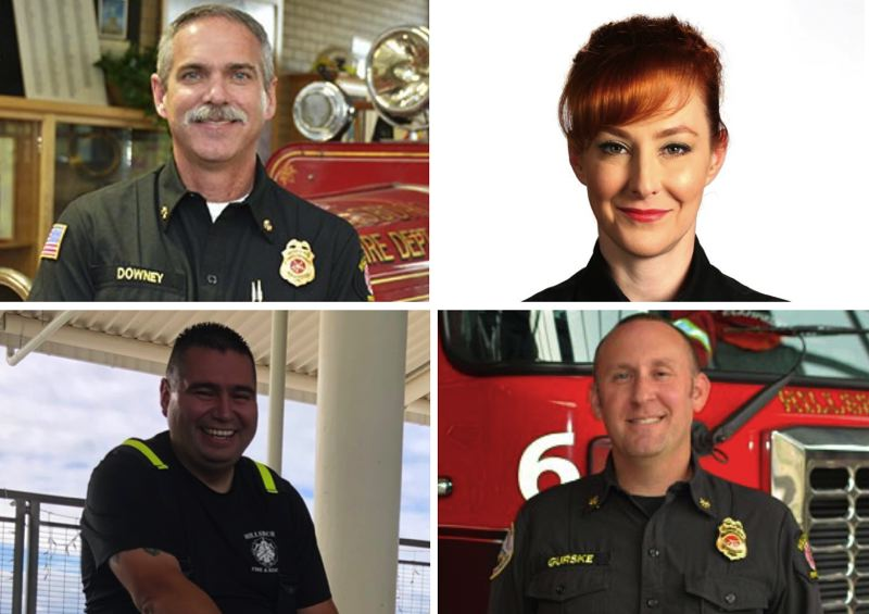 PHOTOS - CLOCKWISE FROM LEFT: Hillsboro Fire Chief David Downey, Capt. Anne Raven, Deputy Chief Jeff Gurske and Fire Marshal Miguel Bautista