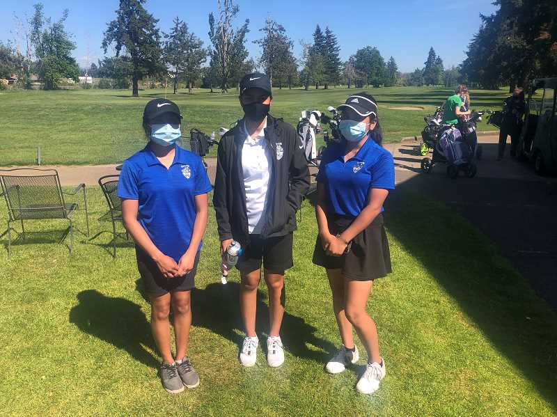 COURTESY PHOTO: NEIL WILHELM - From left: Ana Sanchez, Hilaria Trevino and Neyda Segura each qualified for the 2021 4A girls golf state showcase tournament as individuals after placing in the top six at the district qualifier on May 10-11.