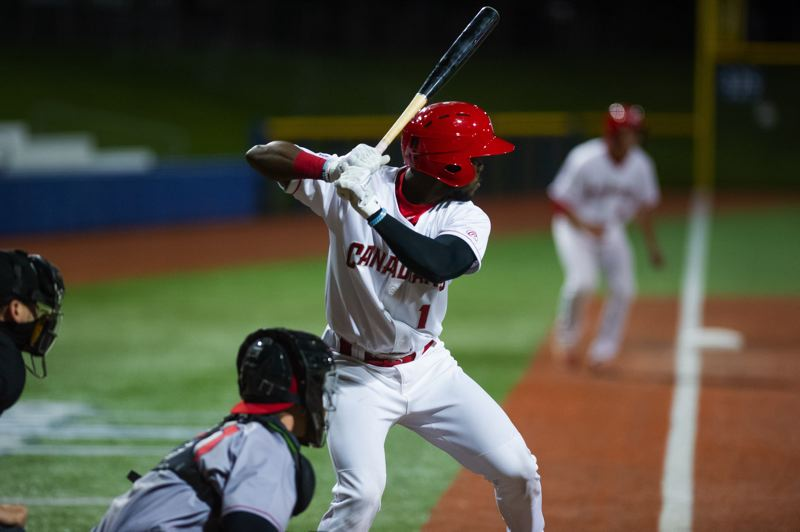 PMG PHOTO: JOHN LARIVIERE - Vancouver Canadians shortstop Luis De Los Santos takes an at-bat late in the Canadians' loss to the Spokane Indians on Tuesday, May 11, at Ron Tonkin Field.