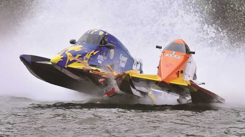 PMG FILE PHOTO - Hydroplanes will once again fly around the corners of the course on the Willamette River as the Memorial Weekend Boat Races have returned.