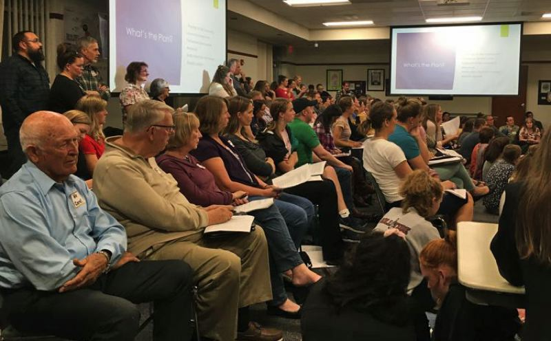 PMG PHOTO: MAX EGENER - About 100 people fill the room at a Hillsboro School Board meeting in September 2019, to urge the district not to adopt a comprehensive sexuality education plan. The plan was adopted, and the 2021 school board race includes a slate of candidates who oppose the curriculum.