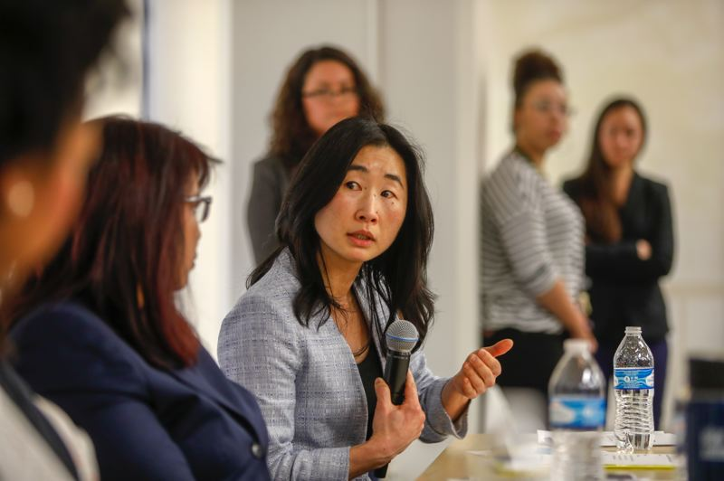 CITY OF PORTLAND PHOTO - Suk Rhee speaks during a panel discussion in 2018. The head of the Office of Community and Civic Life will step down.