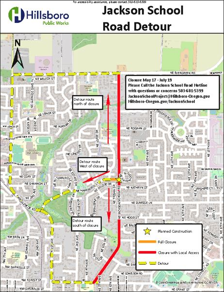 COURTESY MAP: CITY OF HILLSBORO - The segment of Northeast Jackson School Road marked in red will be closed from May 17 to July 19, according to the Hillsboro Public Works Department.