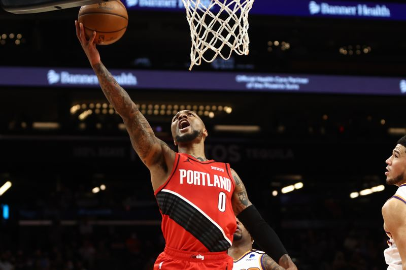 COURTESY PHOTO: BRUCE ELY/TRAIL BLAZERS - Damian Lillard was scoring at the basket Thursday, making only two 3-pointers en route to 41 points.