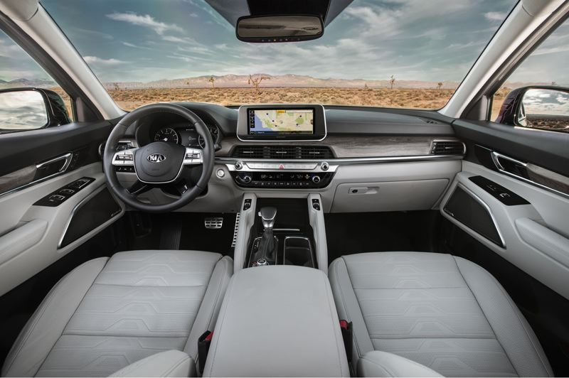 COURTESY PHOTO: KIA - On the dash, an eight-inch touchscreen infotainment system is standard in the 2021 Kia Telluride that displays the reverse-camera view. The system also supports Android and Apple phone integration as well as Bluetooth connectivity and USB input.