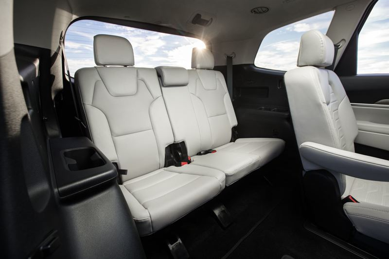 COURTESY PHOTO: KIA - The seats in the base-trim Telluride are supportive and can be upholstered in a high-quality synthetic leather. The second row is a standard bench seat for three, but captain's chairs are available, which makes reaching the third row easier.