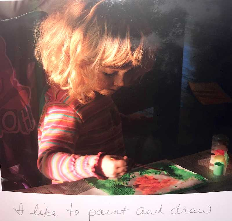 COURTESY PHOTO: CLARA JOHNSON - Clara Johnson, who attends Beaverton High School, shown drawing at a young age. The 17-year-old was surprised when she won a competition to showcase one of her art pieces at the U.S. Capitol building.