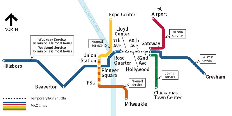 COURTESY GRAPHIC: TRIMET - A map of the TriMet MAX Blue Line project.