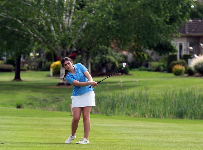 PMG FILE PHOTO: MILES VANCE - Lakeridge senior Maddie Baker (shown here earlier in 2021) stepped up to win the Three Rivers League district tournament at Stone Creek Golf Club in Oregon City on Monday, May 10.