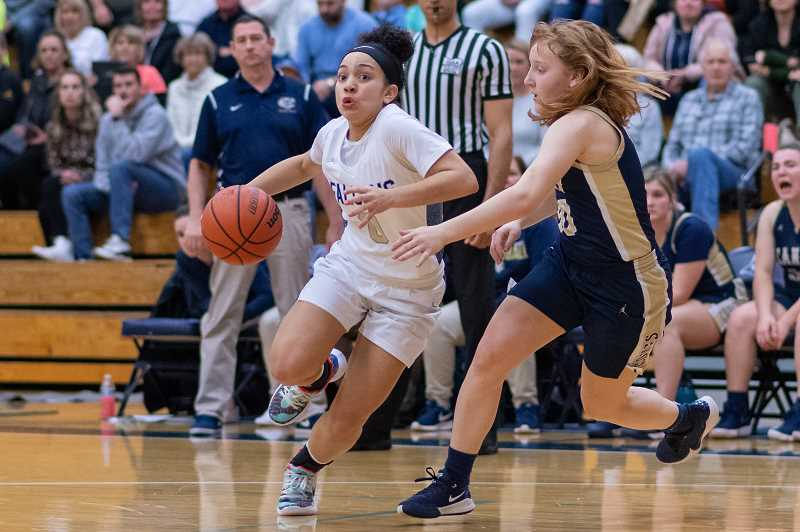 PMG FILE PHOTO - Liberty's Taylin Smith (0) during the second round of the OSAA 6A girls basketball playoffs against Canby at Liberty High School in Hillsboro, Ore., on Friday, March 6, 2020. Smith will be a key contributor to this year's Falcons team.