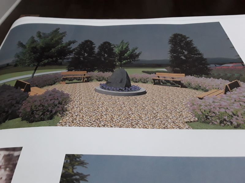 COURTESY RENDERING - Construction on the sanctuary garden in honor of John Hanan II is underway. Pictured here is a rendering of what the garden will look like on Memorial Day.