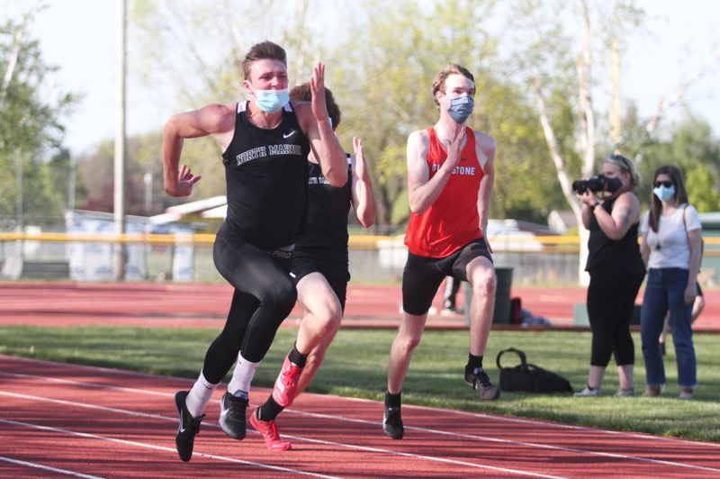 PMG FILE PHOTO: PHIL HAWKINS - North Marion senior Kaden Anderson won the 200-meter dash district title and placed second in the 100 and 300-hurdles.