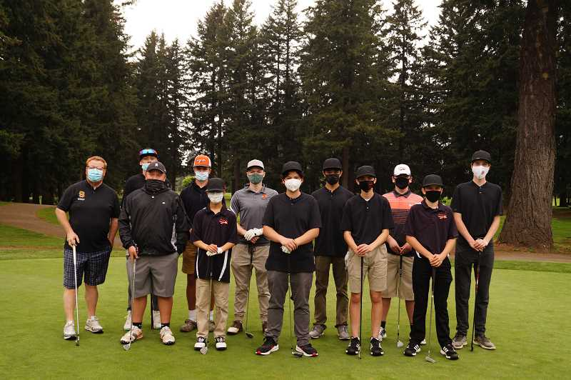 COURTESY PHOTO: SONJA MORTON - The Scappoose High School boys golf team appears at a meet in the short 2021 season.