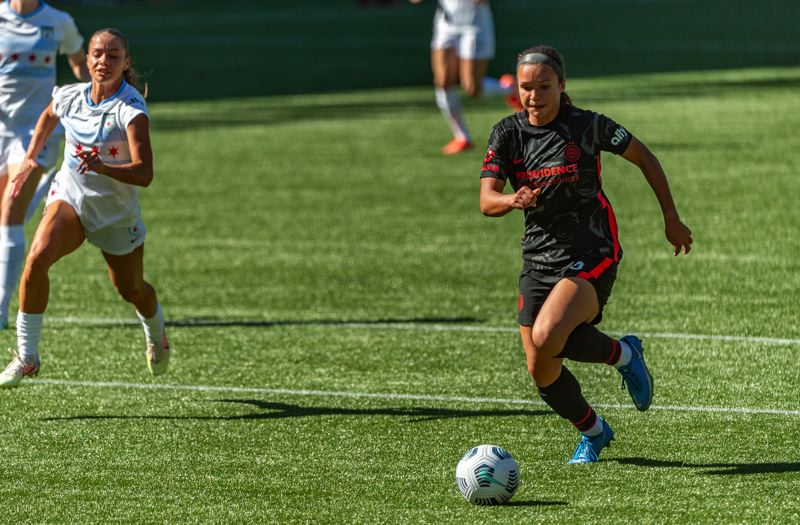 PMG PHOTO: DIEGO G. DIAZ - Sophia Smith scored two of the Thorns' five goals on Sunday, May 16 as Portland opened the NWSL regular season with a dominating win over Chicago.