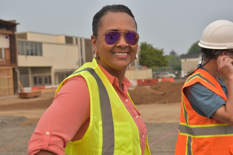 PMG PHOTO: TERESA CARSON - Gresham-Barlow and Corbett boards will have to hire new superintendents. Here Gresham-Barlow Superintendent Katrise Perera visits a construction site in the district's completed building program.