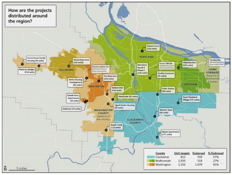 COURTESY METRO - A map of where the current Metro bond-funded affordable housing projects are localed.