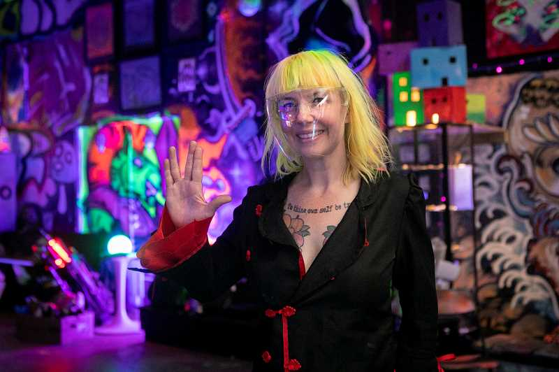 PMG PHOTO: JAIME VALDEZ - Strawberry Pickle sold her house to start Rainbow City and reclaim the vibe of freak-friendly Portland dance clubs such as X-Ray Cafe and the City Nightclub that she loved when she was growing up 20 years ago. Theme nights include starseeds, dark vibes, hip hop, bass music, and on Tuesdays, Sword Society. A former preschool teacher, she just wants to give people a place to play.