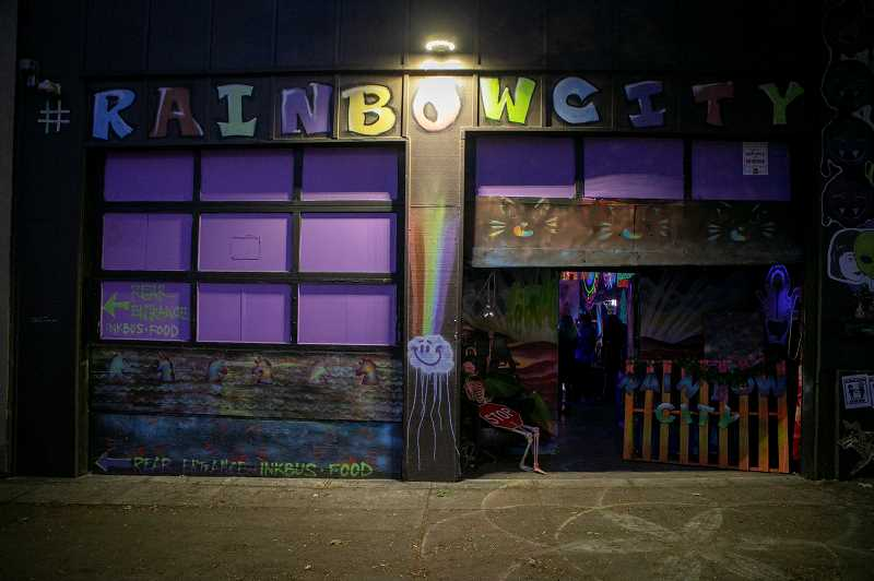 PMG PHOTO: JAIME VALDEZ - When she found the former truck garage and pinball warehouse behind Hippo Hardware, Strawberry Pickle appreciated that it already had a rainbow painted on it. The first thing she did at Rainbow City was buy a 14-foot fiberglass triceratops.