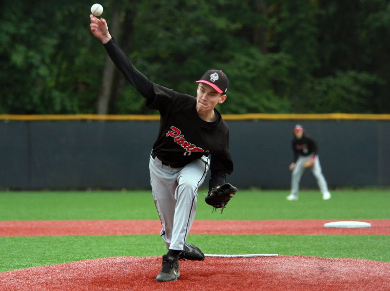 PMG PHOTO: MILES VANCE - Oregon City pitcher Dane Lais delivers during his team's 4-1 win over Wilsonville at Wilsonville High School on Thursday, May 20.