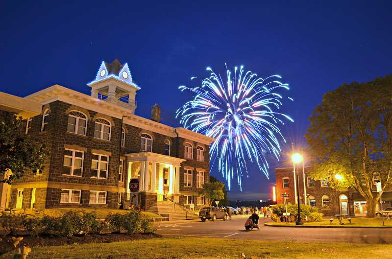 SUBMITTED PHOTO: CITY OF ST. HELENS - Fireworks light up the sky over the heart of St. Helens