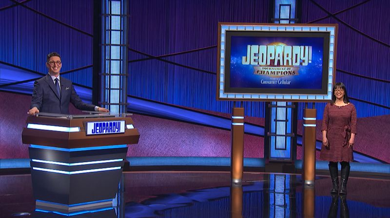 COURTESY PHOTO: JEOPARDY PRODUCTIONS - 'Jeopardy!' guest host Buzzy Cohen stands with Veronica Vichit-Vadakan, a Portland librarian who advanced to the semifinals of the show's Tournament of Champions.