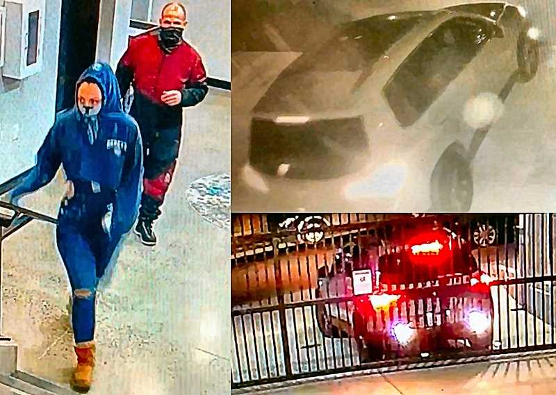 COURTESY PPB - Heres surveillance video of the suspects - and the VW Tiguan they used as a battering ram to smash into the buildings security garage in order to steal art up in the lobby.