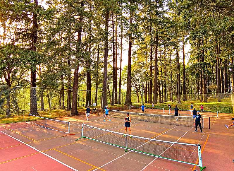 DAVID F. ASHTON - People from all over Portland travel to Sellwood Park, to play games of Pickleball in special courts, temporarily set up in an unused Portland Parks & Recreation tennis court.