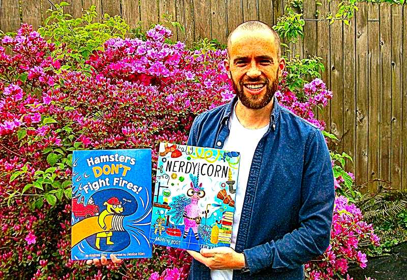 RIKTA A. LEONARD - Creston-Kenilworth neighborhood author Andrew Root shows THE BEE his two published childrens books to date.