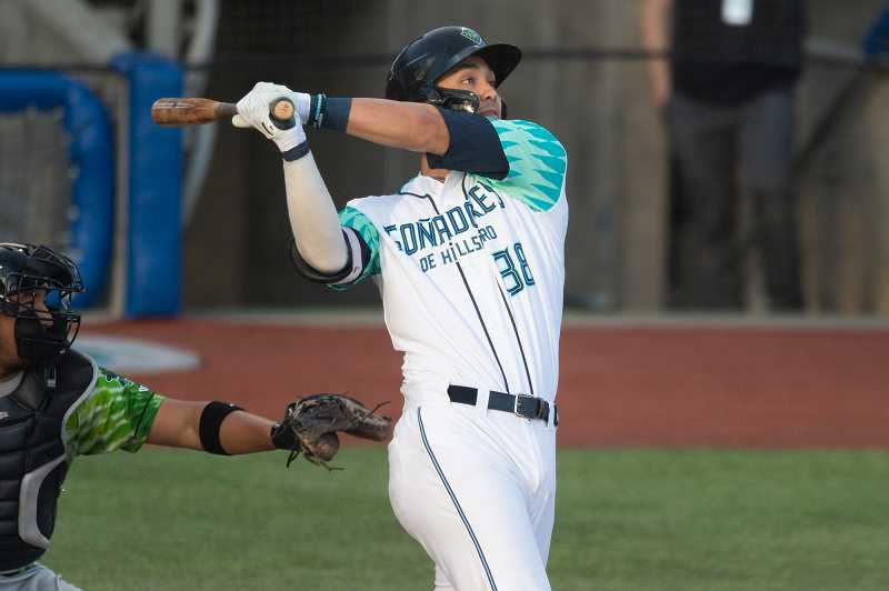 PMG FILE PHOTO - Hillsboro's Andy Yerzy swings for the fences. Yerzy returned to the Hops this past week after being called up from Low-A affiliate Visalia. The catcher and first baseman hit two home runs in four games versus Vancouver.