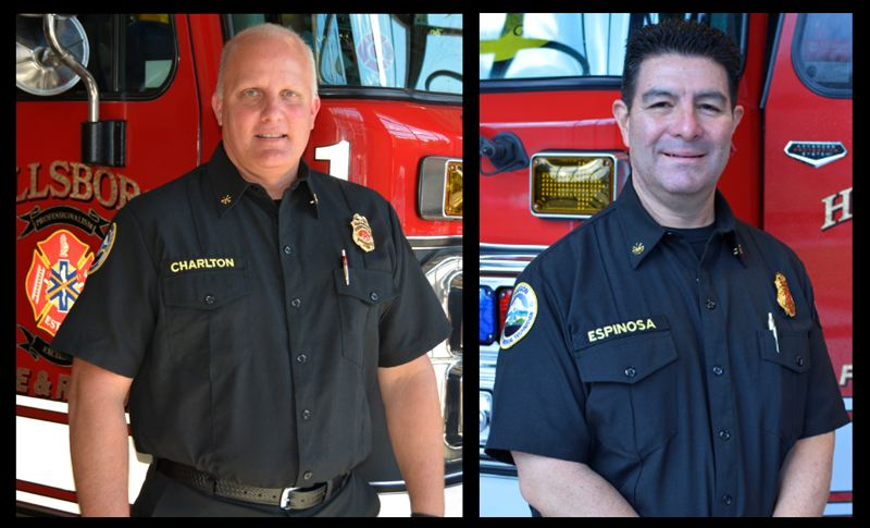 COURTESY PHOTO: CITY OF HILLSBORO - Fred Charlton, left, and Greg Espinosa have been hired as Hillsboro Fire & Rescue's new division chief of training and deputy chief, respectively.